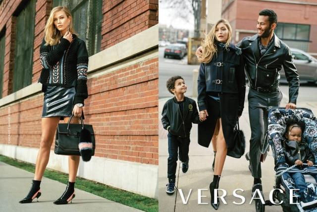 Nas fotos da nova campanha da Versace, clicadas por Bruce Weber, as modelos Gigi Hadid e Karlie Kloss posam nas ruas de Chicago como mães super poderosas em famílias interraciais