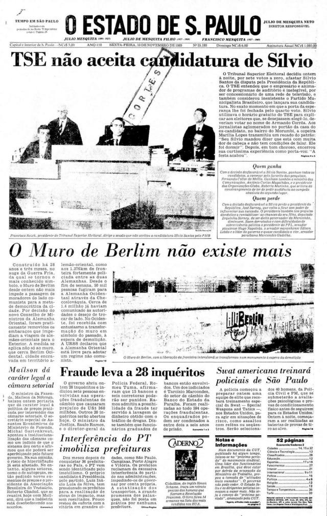 O apresentador Silvio Santos candidato em 1989.