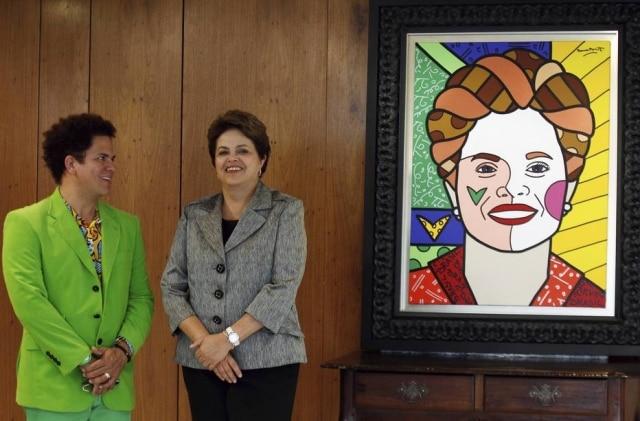 Quando foi presidente do Brasil, Dilma Rousseff recebeu um quadro de Romero Britto.