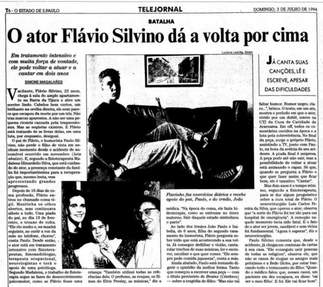 Reportagem sobre a 'volta por cima' de Flávio Silvino publicada em 3 de julho de 1994
