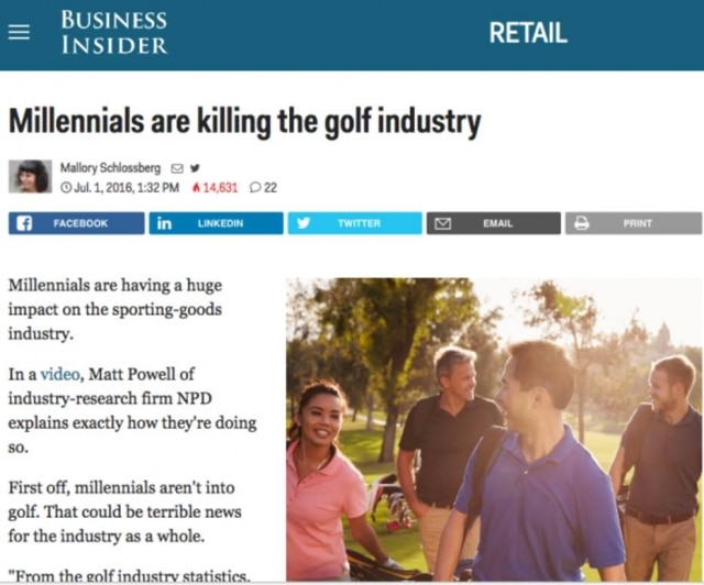 Millennials estão matando a indústria de golf.