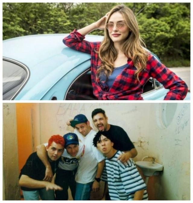 Isabelle Drummond para a novela 'Verão 90', em 2019, e o grupo Mamonas Assassinas, em foto de 1995.