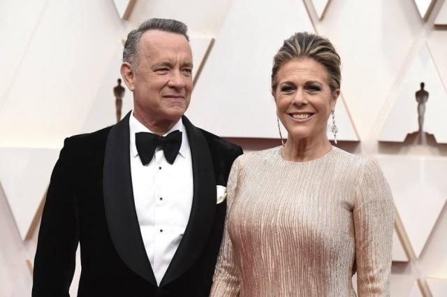 O ator Tom Hanks e a esposa, Rita Wilson, na cerimônia do Oscar em fevereiro.