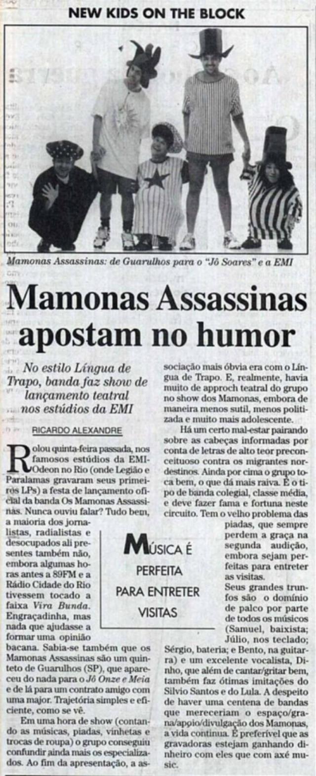 Crítica sobre olançamento dos Mamonas Assassinas