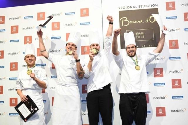 Danilo Takigawa, Marcelo Milani, Luiz Filipe Souza e Ricardo Dornelles, finalistas do Bocuse D'Or