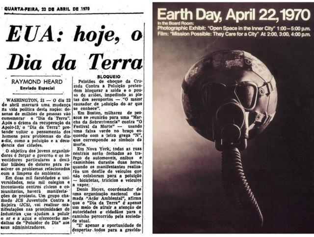 > Estadão - 22/4/1970Reprodução decartaz promovendo o1º Dia da Terraem 22/4/1970.