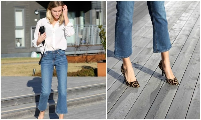 Jeans flare um pouco mais curtos que o convencional são tendência.