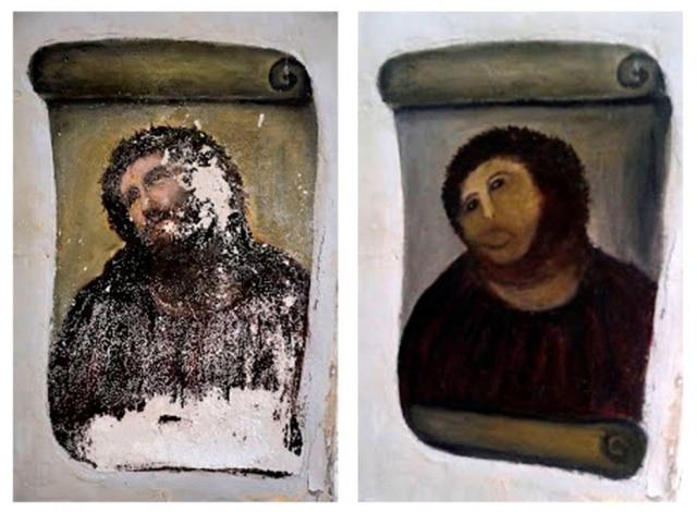 Imagem de Jesus Cristo fica na Igreja de Borja foi restaurada por Cecília Gimenez.