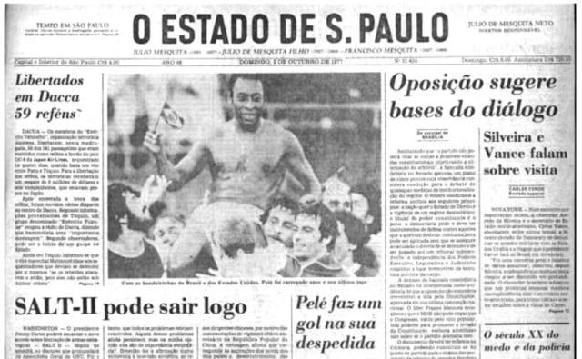 Jogo de despedida de Pelé em Nova Yorkna capa do jornal