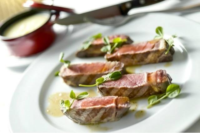 Prato de Julien Mercier com carne dry aged