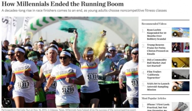 Como os millennials acabaram com o 'boom' das corridas.