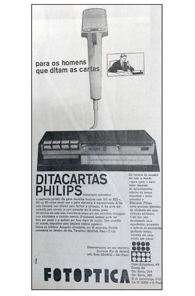 Anúncio doDitacartas da Philips, no Estadão de 30/7/1963