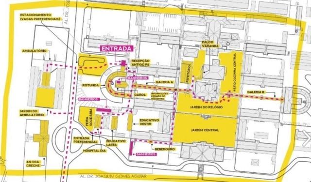 Mapa do pavilhão desativado do complexo hospitalar do Juquery, onde ocorre o Soy Loco Por Ti Juquery. Antes, lugar era usado para abrigar pacientes psiquiátricos de longa duração.