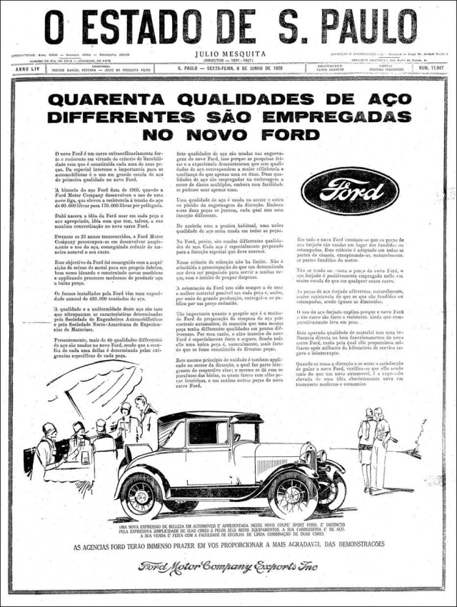 Anúncio do Ford Model A Sports Coupe, publicado no Estadão de 08/6/1918