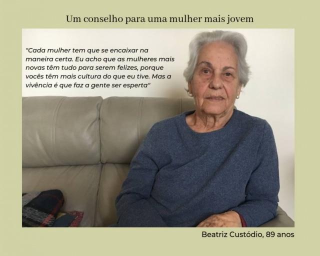 Beatriz Custódio casou aos 29 anos e teve dois filhos; o marido faleceu há dois anos.