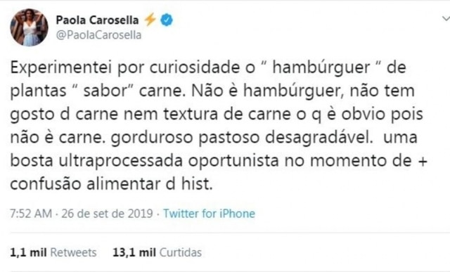 Tweet de Paola Carosella sobre o hambúrguer vegetal.