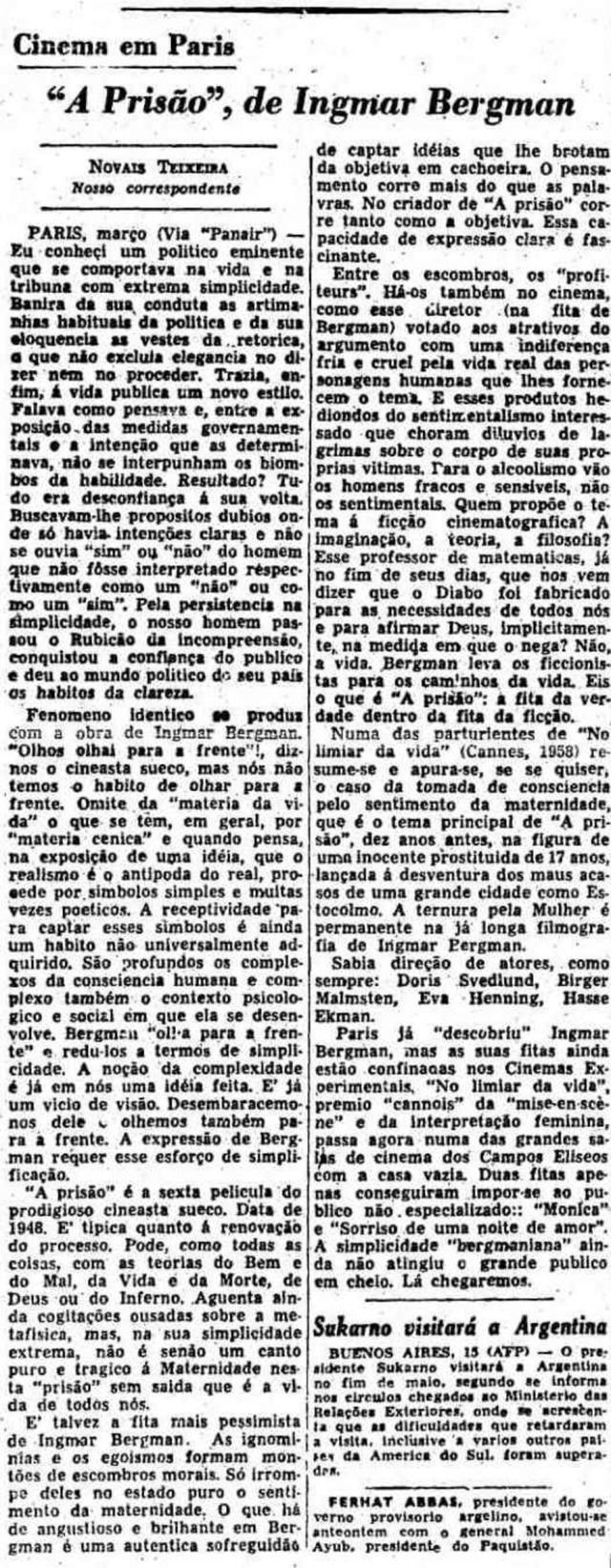 Texto de 16/4/1958 sobre o filme'A 'Prisão', de Ingmar Bergman.