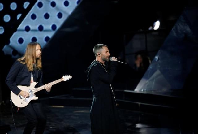 A banda Maroon 5 durante show em Los Angeles, nos Estados Unidos.