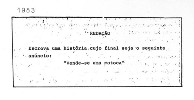 Prova de Redação de 1983. Cliqueaquipara saber mais