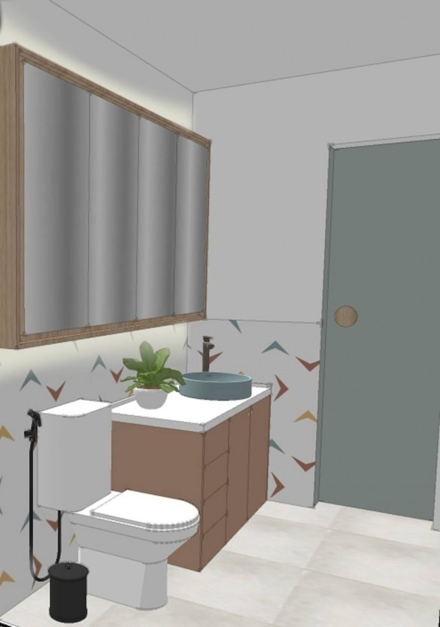 Banho da suíte também foi redecorado em tonalidades mais neutras