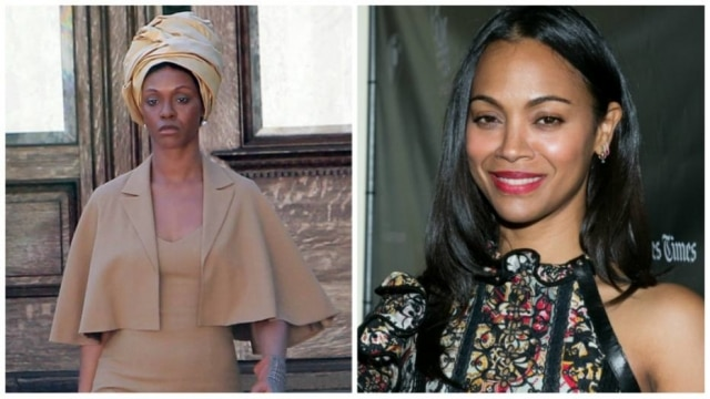 Zoe Saldana as Nina Simone (left) and at an event (right)