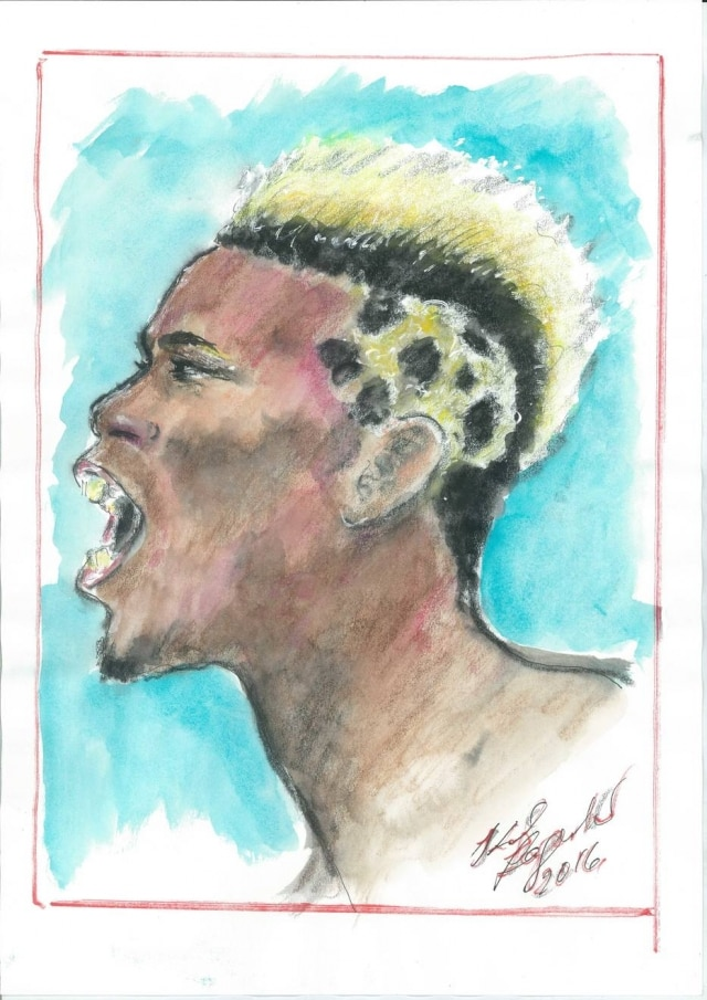 O meia francês Paul Pogba, em croqui de Karl Lagerfeld, uma das obras da mostra 'Fanatic Feelings'