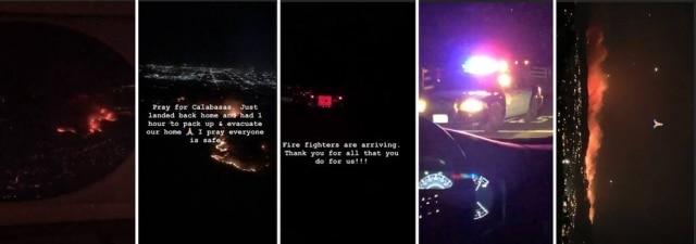 Stories publicados porKim Kardashian sobre o incêndio.
