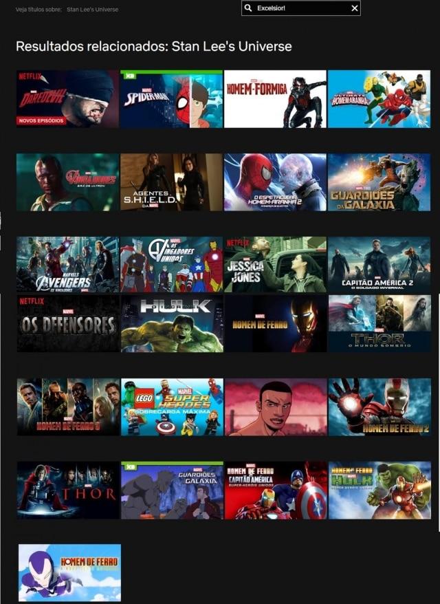 Catálogo da Netflix sobre o universo de Stan Lee.