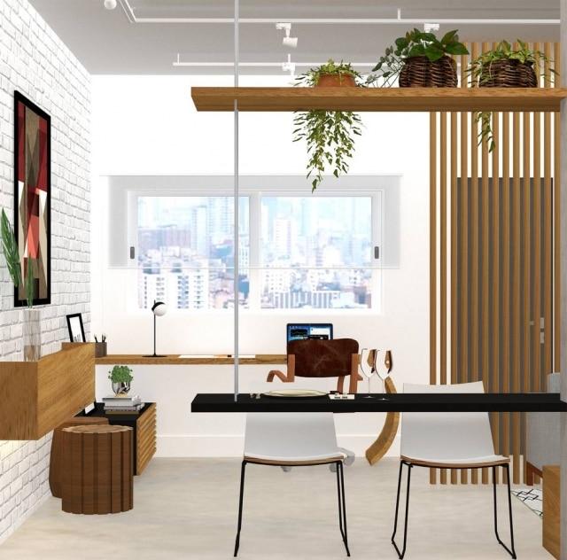 Ambientes da sala de estar integrado com o escritório