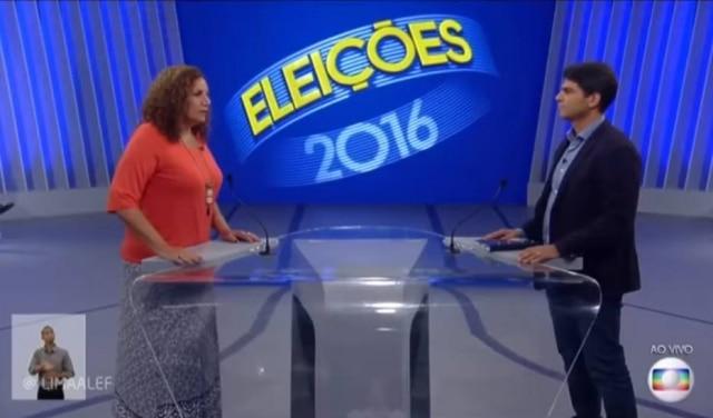 Jandira Feghali, candidata do PC do B à prefeitura do Rio, usou sua primeira pergunta para dizer que a Globo 'apoio o golpe contra à democracia'
