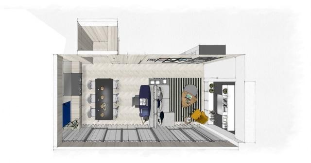 Planta do espaço projetado por Fernanda Marques