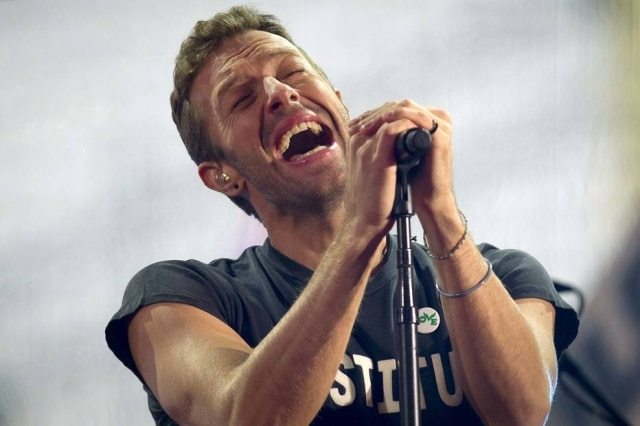 Na imagem, Chris Martin, vocalista do Coldplay.