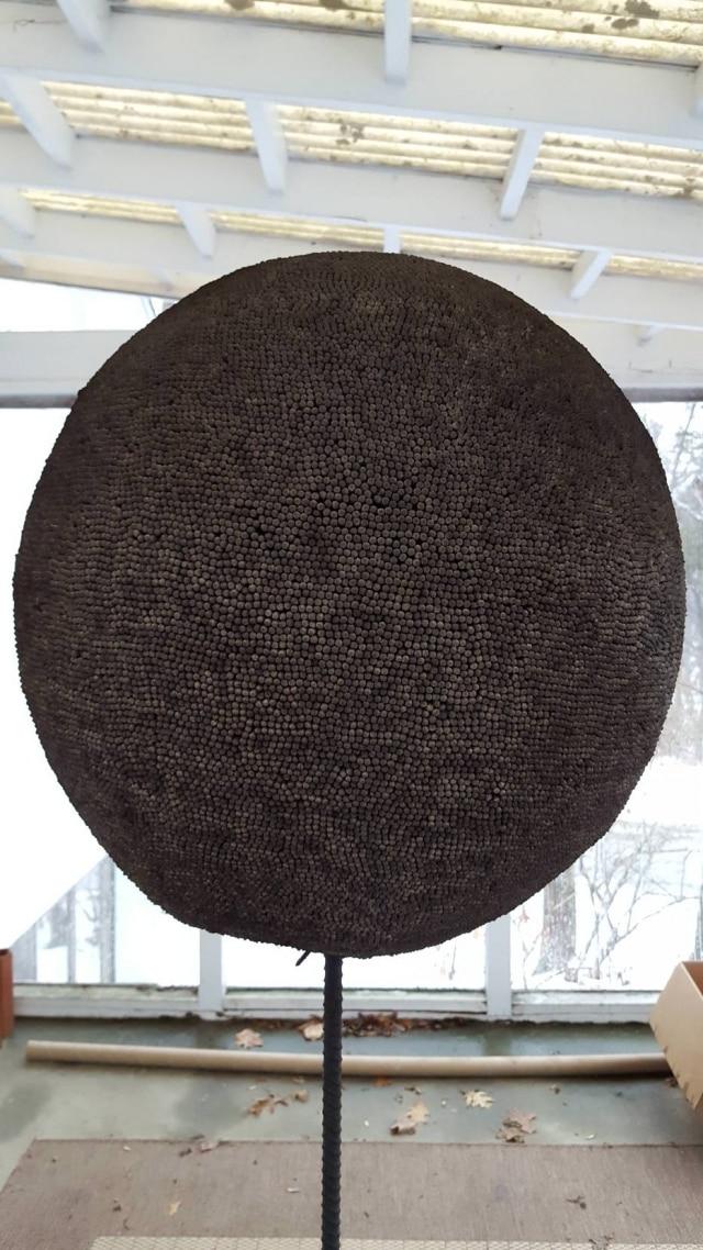 Esfera de fósforos após ter sido queimada