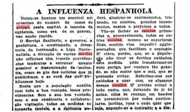 Fechamento das escolas foi uma das primeiras medidas adotadas para enfrentar a gripe.Clique aqui para ler a notícia do Estadão de 18/10/1918.