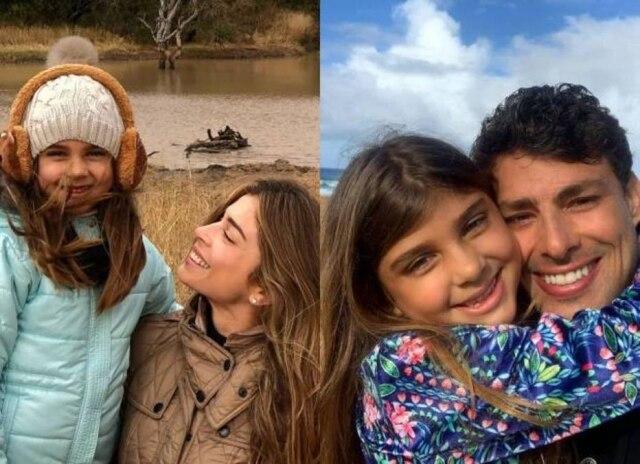 Os atores Grazi Massafera e Cauã Reymond, com a filha Sofia