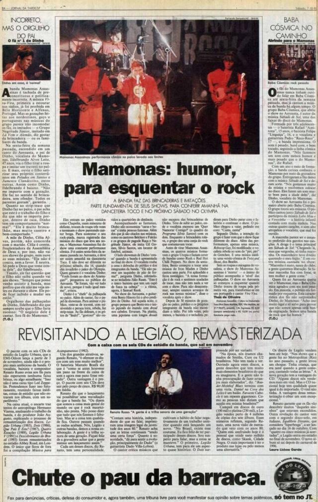 Reportagem do Jornal da Tarde sobre o humor musical dos Mamonas Assassinas