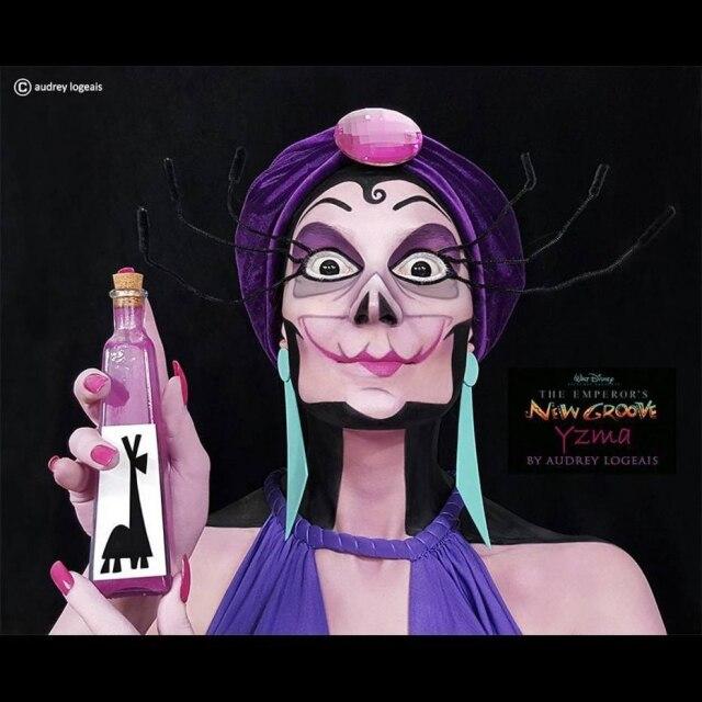 Para o tributo a personagem Ysma, do filme A Nova Onda do Imperador, Audrey criou uma ilusão com pintura preta e um fundo da mesma cor