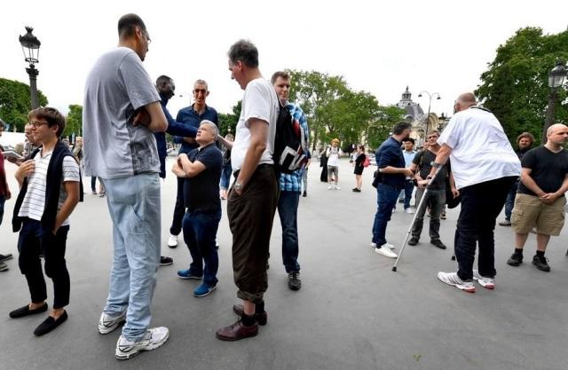 Encontro entre alguns dos homens mais altos do mundo na França, em 1ºde junho de 2018.