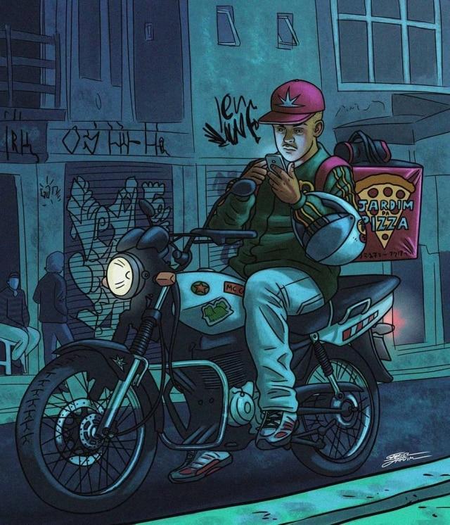 DJ Cebola é motoboy e, em story do Instagram, Gabriel Jardim aponta que o personagem está mandando mensagem para um amigo: 'Tô acabando aqui o trampo. Vai colar no baile?'