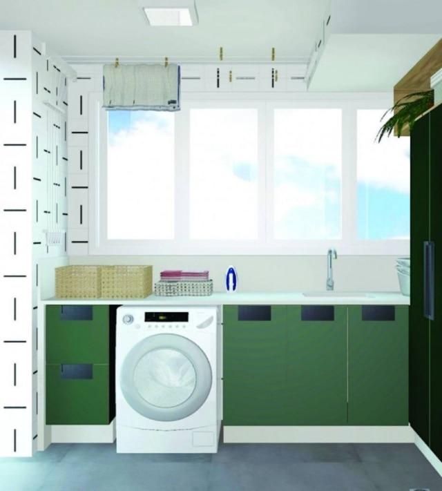 A lavanderia de Maria Esther ficou mais colorida com o projeto assinado pela arquiteta Juliana Pippi. Foto: Estúdio Juliana Pippi