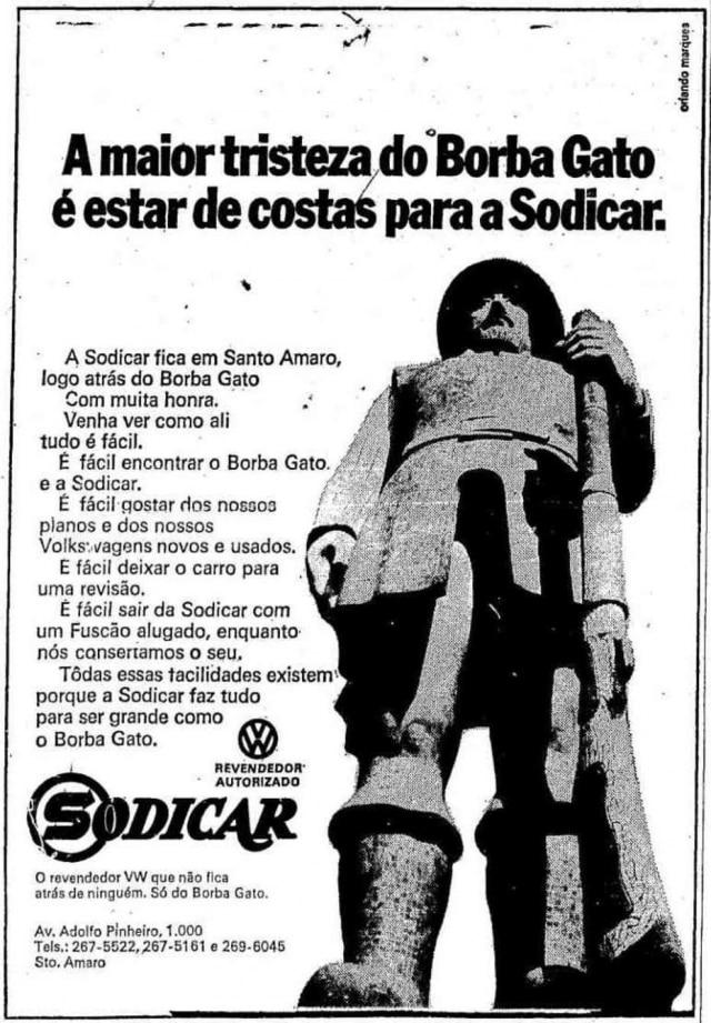 Anúncio de loja de carro com Borba Gatono jornal em 16/9/1971.