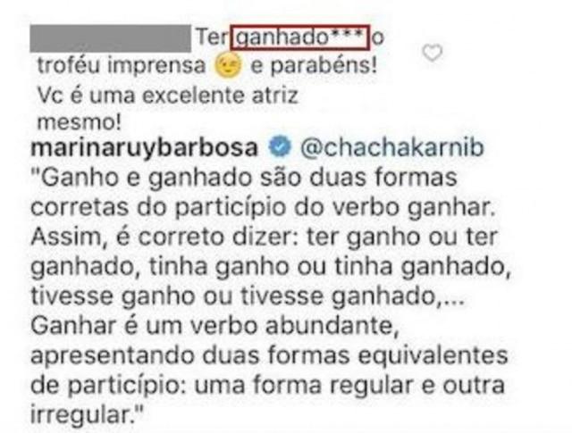 A resposta de Marina Ruy Barbosa ao que seria uma correção sobre a locução verbal escrita pela atriz.