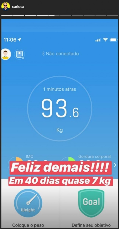 Story publicado pelo humorista Carioca com seu peso em 3 de maio de 2019.