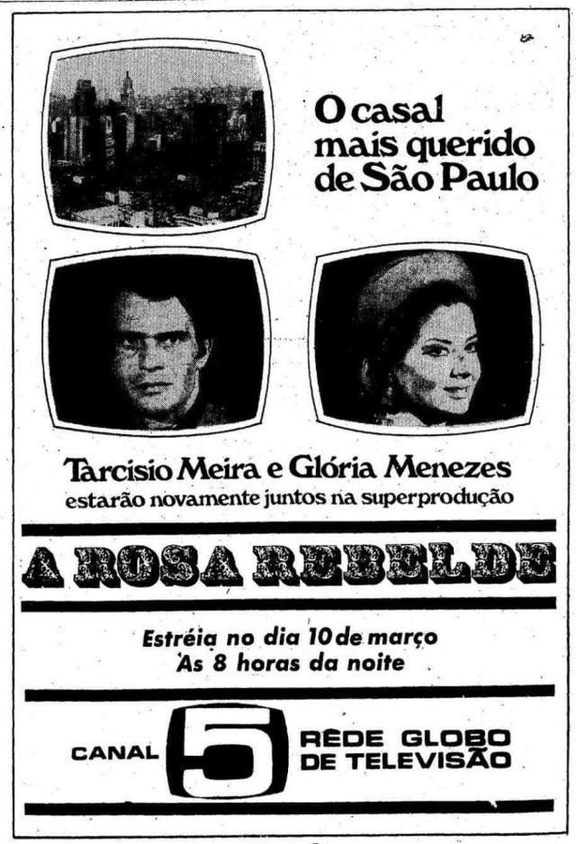 Anúncio com Tarcísio Meira e Glória Menezes em 1969