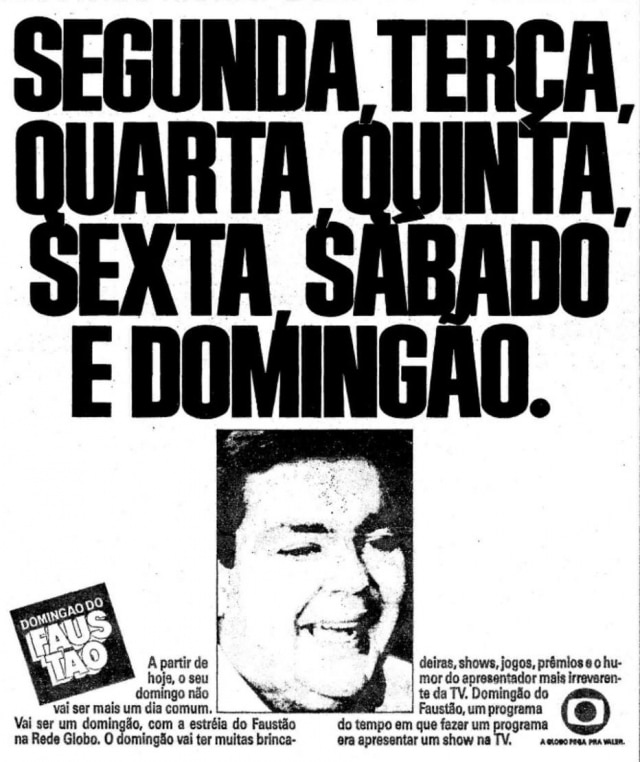Propaganda de divulgação do 'Domingão do Faustão'.