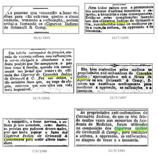 Anúnciosde remédios commaconha nos séculos 19 e 20