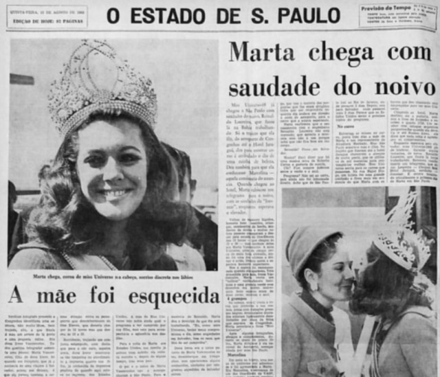 Página de 'O Estado de S. Paulo' sobre Martha Vasconcellos, a Miss Universo 1968.
