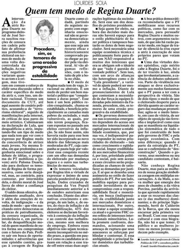 Artigo sobre Regina Duarte nojornal de 21/10/2002.