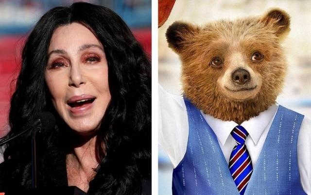 A cantora Cher ao lado do Urso Paddington