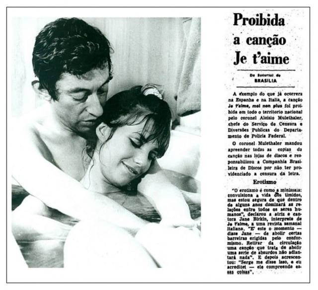 Serge Gainsbourg eJane Birkin, intérpretes da proibidona'Je t'aime... moi non plus'